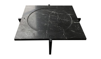 Luni Marble Coffee Table, Black Marquina Marble