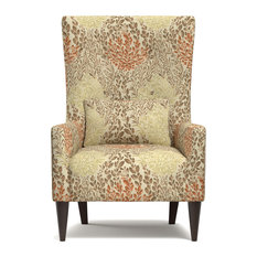 Handy Living - Orilla Shelter High Back Wing Chair, Orange Multi Floral - Armchairs and Accent Chairs