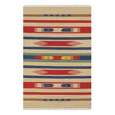 "Pasargad Home Anatolian Collection Hand-Woven Cotton Area Rug, Beige, 5'0""x8'0"""