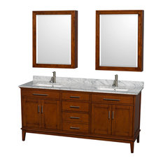 "Hatton 72"" Light Chestnut Double Vanity, White Carrera Marble Top, Square Sink"
