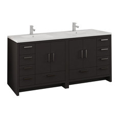 """Fresca Imperia 72"""" Dark Gray Oak Double Sink Cabinet With Integrated Sink"""