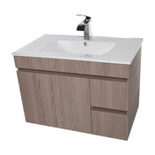 Strato Wall Mounted Bathroom Vanity Cabinet Set With Single Sink, Estepa, 32""