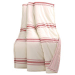 "TRIANGLE HOME FASHIONS - Farmhouse Stripe Throw 50x60, Red - There is no easier way to add traditional farmhouse style to your home than with this reversible cotton throw. The printing on the front is reminiscent of shiplap beams. The back features a pinstripe print. This throw would look great on a bed or sofa.Throw: 60""H x 50""W"