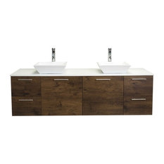 "Luxury 72"" Rosewood Bathroom Vanity With Top"