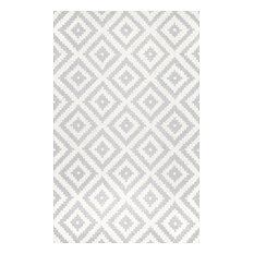 "nuLOOM Hand-Tufted Geometric Tuscan Rug, Light Gray, 7'6""x9'6"""