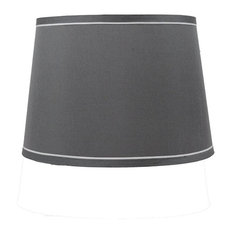 "14"" French Drum With White Trim Lampshade, Gray"