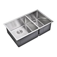 "33"" X 20"" Small Radius 60/40 Double Bowl Stainless Steel Undermount Kitchen Sink"