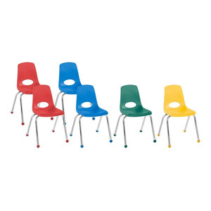 "Factory Direct Partners 16"" School Stack Chair Ball Glide, 6-Piece, Assorted"