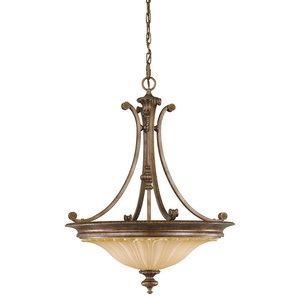 3-Light Chandelier, British Bronze