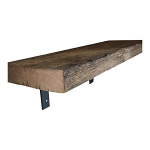 Barn Wood Shelf With Industrial Black Metal L Brackets, Farm House Shelves