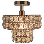 """River of Goods - 11.6"""" Double Layered Clear Semi-Flush Mount Lighting Fixture - This stunning K-9 crystal, double-tiered semi-flush mount ceiling lamp is full of glam and extravagance; perfect lighting fixture for any room. It features punched metal chrome with clear faceted K-9 crystals. The down light will add glam + glitz to your bathroom, bedroom, walk-in closet or hallway."""