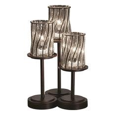 Wire Glass Dakota Table Lamp, Cylinder With Flat Rim, Dark Bronze and Swirl