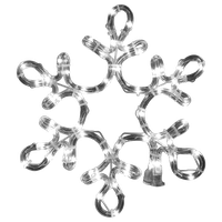 """12"""" Pure White Ropelit Snowflake With Star Middle"""