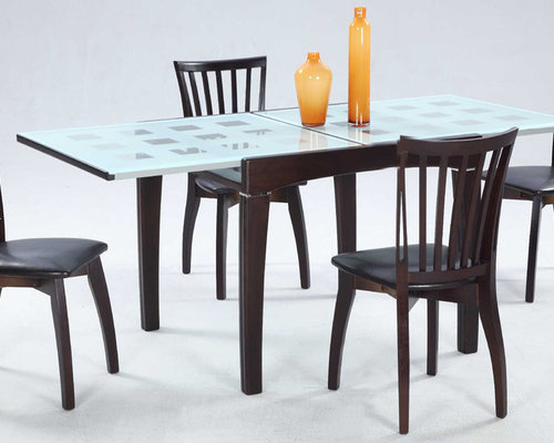 Extendable Wooden And Frosted Glass Top Leather Modern Dining Set With Leaf