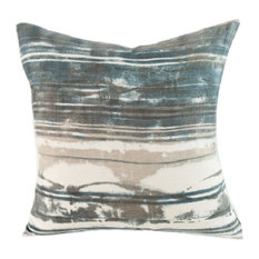 "Stripe Granite Hand-Printed Linen Pillow, 18""x18"", Case With Insert"
