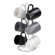 Home Basics Crochet Stoneware 6-piece Mug Set and Stand