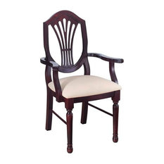 Beechwood Mountain Shieldback Dining Arm Chair in Mahogany and Cream