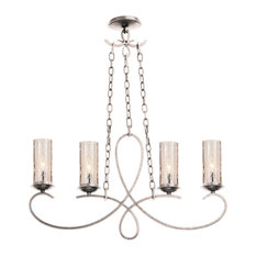 "Grayson 32x19"" 4-Light Transitional Island-Light by Kalco, Pearl Silver"