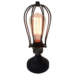 Inspirational Industrial Table Lamps Cage Bulbs Reading Lamp Black