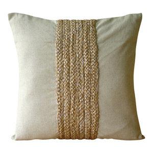 Jute Cord Ecru Euro Pillowcase, Cotton Linen 65x65 Euro Pillow, Linen Memories