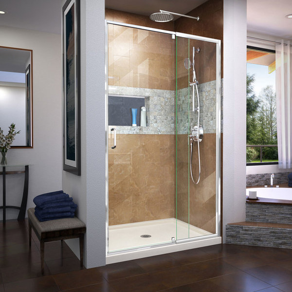 Flex 32 X 42 X 74 3/4 Pivot Shower Door, Chrome, Center