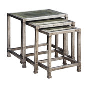 Antiqued Silver Iron Nesting Accent Table, Set of 3
