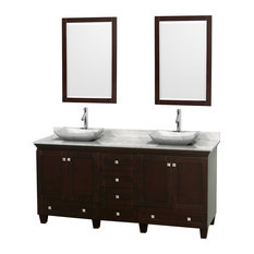 "72"" Acclaim Double Vanity, White Carrera Marble Top, White Carrera Marble Sink"