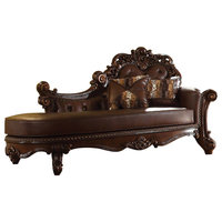 Elegant Wooden Chaise with 2 Pillows, Cherry Brown, Cherry Brown