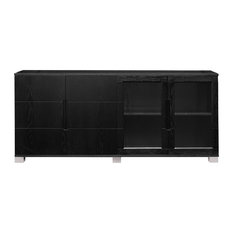 ... - Hayes Cabinet, Black Oak With Glass Doors - Filing Cabinets