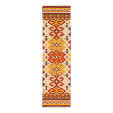"Hand Woven Izmir Kilim Cream, Red Wool Kilim, 2'8""x9'7"""