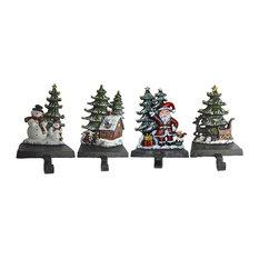 Cast Iron Christmas Stocking Holders, 4-Piece Set