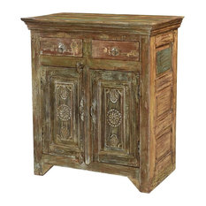37-inch T Uranio Sideboard Hand Crafted One Of A Kind Old Teak Wood Carved Doors