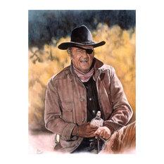 "Mike Bennett John Wayne - True Grit Art Print, 9""x12"""