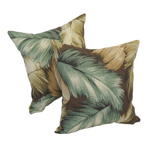 "Blaziing Needles 17"" Outdoor Throw Pillows, Tan and Green, Set of 2"