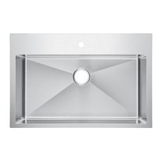 Single Bowl Stainless Steel Drop In Kitchen Sink With Drain and Strainer