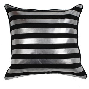 Striped Metallic Cushion Cover, Black and Silver