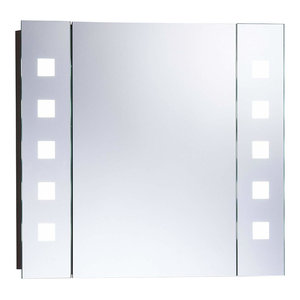 Modern Bathroom Mirror Cabinet, Wire Free With Sensor Switch and LED Lights