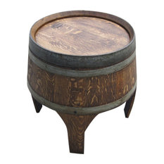 barrel art barrel tall side table dark walnut outdoor side tables alpine wine design outdoor