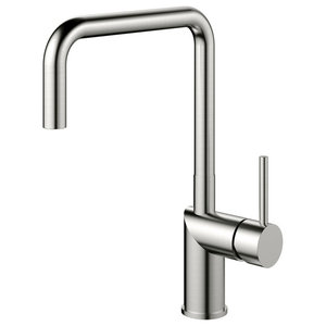 Rhythm Kitchen Mixer Tap, Square, Brushed Stainless Steel