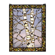 "Meyda Lighting 28""W X 36""H Birch Tree in Winter Right Stained Glass Window"