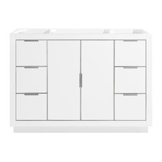 Austen 48-inch Vanity Only White With Brushed Silver Trim