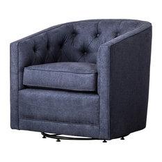 Walsh Fabric Swivel Chair, Denim Slate Blue