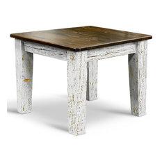 Square Farm Table, Ebony, White Washed