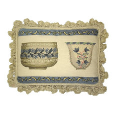 "Petit Point French Antique Bowl Set With Tassels Pillow, 12""x16"""