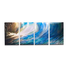 """Wave Wall Art Abstract Sculpture"" Metal Wall Art by Miles Shay, 4-Piece Set"