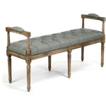 EuroLux Home - Bench Nicolas Sage Limed Gray Green Oak - Product Details