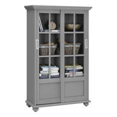 Ashton Oaks Bookcase With Sliding Glass Doors, Soft Gray