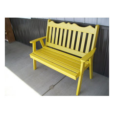 4' Pine Garden Bench in Royal English Style, Canary Yellow