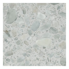 """24""""x24"""" Palladio White Marble Floor and Wall Tile, Set Of 4"""