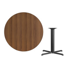 """42"""" Round Walnut Laminate Table Top With 33"""" Table H Base"""